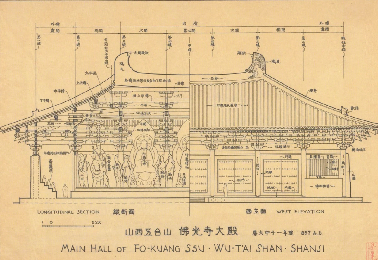 梁思成先生古建筑手稿